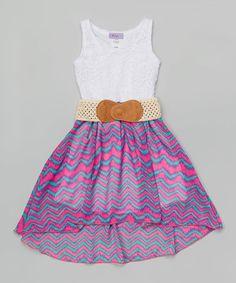 Pink & Mint Hi-Low Belted Dress - Girls by Maya Fashion #zulily #zulilyfinds