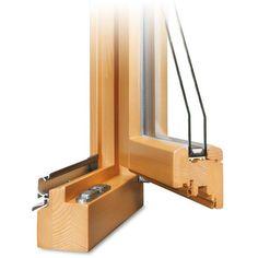 Holz Terrassentür Profilecke geöffnet mit Regenschiene im Farbton Kiefer