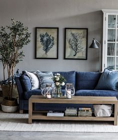 Decorating Ideas For Living Room With Navy Blue Sofa.Navy Blue Sofa In Open Floor Plan Modern Living Room With . Blaues Sofa 50 Einrichtungsideen Mit Sofa In Blau Die . Beautiful Clean Lined Sectional Home Decor: Living Room . Home Design Ideas Blue Couch Living Room, Living Room Paint, Home Living Room, Blue Living Room Furniture, Living Room Ideas Navy Sofa, Denim Drift Living Room, Blue Home Furniture, Living Room Decor Grey And Blue, Navy Living Rooms