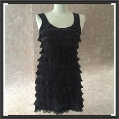 Tier Ruffle Little Black Dress Extra Small XS Layers Tier Little Black Dress Extra Small XS by H & M Sleeveless Polyester 30 inch Bust 30 inch length from shoulder to hem Slight Stretch Gently Pre-Owned  Trades H&M Dresses Mini
