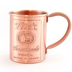 This Tito's Custom Copper Mug goes perfectly with that cute Tito's V-neck tee.  Tito's American Mule recipe tastes best when served cold in this coveted cup.  Hold onto yours pretty tightly-- these disappear from parties.  #over40 #shespark #mothersday