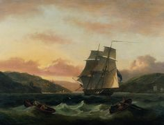 """Thomas Luny      """"A Brigantine in Full Sail in Dartmouth Harbour"""""""