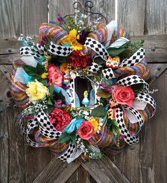 Everyday Wreath, Alice in Wonderland Party Decor, Alice in Wonderland Birthday, Birthday Wreath, Disney Decor, Down the Rabbit Hole on Etsy, $165.00