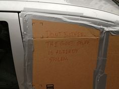"""But that cardboard looks nice."" 