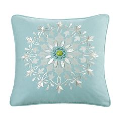 Echo Sardinia Cotton Square Embroidered 18-inch Pillow | Overstock.com Shopping - The Best Deals on Throw Pillows