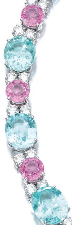 Detail: Diamond, pink sapphire, and pariaba tourmaline necklace, Michele Della Valle. Via Diamonds in the Library.