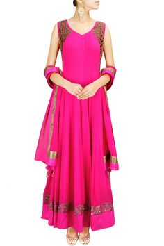 Hot pink and gold embroidered anarkali set BY AKSHAY WADHWA.
