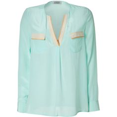 STEFFEN SCHRAUT Water Mint Veronica Silk Top ($270) ❤ liked on Polyvore