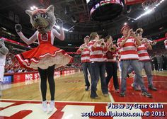 Ms. Wuf and the NC State Wolfpack band perform at the 4 minute TV timeout of the second half of the NCSU vs UVA basketball game.