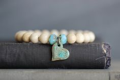 River Rock Stacking Bracelet with Copper Heart Charm