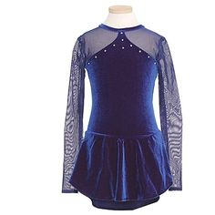 ChloeNoel Girls Navy Velvet Mesh Long Sleeves Ice Skating Dress... (115 CAD) ❤ liked on Polyvore featuring lullabies