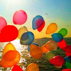 colors. Balloons flying in the air