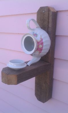 Unique Cottage Chic Shabby Chic Repurposed Ceramic Victorian China Tea Pot Bird House & Bird Feeder on Rustic Barn Wood -- FREE SHIPPING USA by DecoratingWithStyle on Etsy