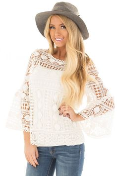 34494ad7967 Lime Lush Boutique - Ivory Sheer Lace Bell Sleeve Top, $19.95 (https:/
