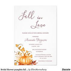 Shop Bridal Shower pumpkin fall golden white Invitation created by EllenMariesParty. Personalize it with photos & text or purchase as is!