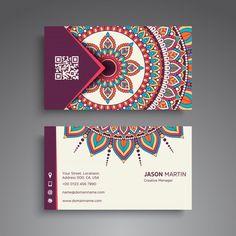 Diseño oriental de mandala de tarjeta de visita Vector Premium Business Cards Layout, Elegant Business Cards, Cool Business Cards, Business Card Design, Mandala Design, Stationery Design, Branding Design, Architecture Business Cards, Watercolor Business Cards