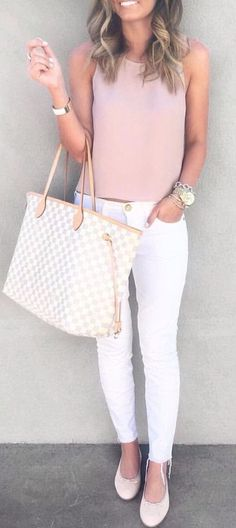 #spring #outfits Blush Tank + White Skinny Jeans + Checked Tote Bag