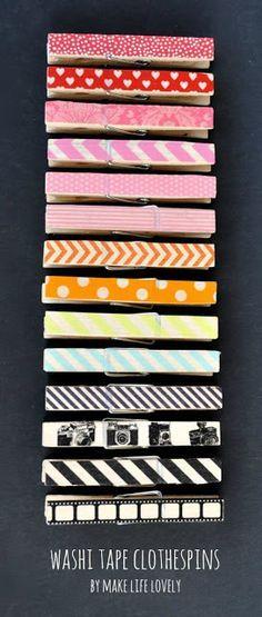 Make Life Lovely: Washi Tape Clothespins Tutorial. cualquier papel de regalo metalizado sirve para adornar nuestras pinzas, solo que utilice una buena goma de pegar y deje secar muy bien.