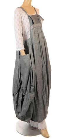 Martine Samoun Fantabulous Grey Linen Pinafore Dress-Martine Samoun, lagenlook……  Check out our amazing collection of plus size dresses at http://wholesaleplussize.clothing/