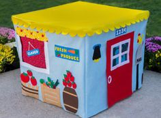 Farm Stand Card Table Playhouse Personalized by missprettypretty. , via Etsy. Card Table Playhouse, Playhouse Kits, Cardboard Playhouse, Indoor Playhouse, Cardboard Furniture, Cardboard Crafts, The Farm, Kids Tents, Play Tents