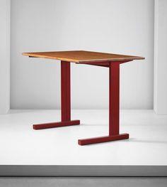 JEAN PROUVÉ 'Cité' table, model no. 500, designed for the Cité Universitaire, Nancy , designed 1932, produced circa 1950-1951 Painted tubular steel, painted bent sheet steel, oak.