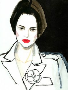 Couture Fashion Week 2015 - Chanel Illustration of Kendall Jenner