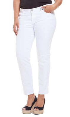 James Jeans 5 Pocket 'Twiggy Z' Cigarette Plus Size Jean Best White Jeans, How To Wear White Jeans, Cigarette Jeans, Office Attire, Twiggy, The Chic, Body Shapes, Spring Fashion, What To Wear