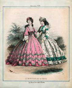 In the Swan's Shadow: Le Moniteur de la Mode, January 1863 Civil War Era Fashion Plate