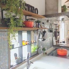 shio2772さんの、みんなのココロ安定所,小さなグリーン達,グリーンのある暮らし,キッチン雑貨,いなざうるす屋さん,ルクルーゼ,窓枠DIY,アルファベットオブジェ,キッチン,のお部屋写真