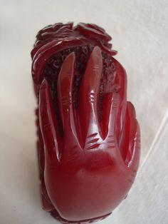 Deeply Carved Bakelite Roses Hands Red Clamper Bangle