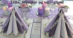 lilla borddækning til konfirmation Christmas Table Settings, Napkin Folding, Diy And Crafts, Invitations, Table Decorations, Party, Home Decor, Weddings, Google
