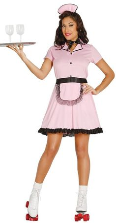 dd2fa9729c949 Details about Ladies 50s 1950s Roller Waitress TV Film Hen Do Night Fancy  Dress Costume Outfit