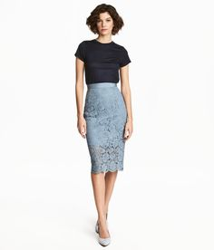Check this out! Calf-length pencil skirt in lace with grosgrain ribbon at waist, concealed elastic at side, and slit at back. Lined. - Visit hm.com to see more.