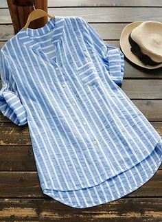 Stripe Casual Round Neckline Short Sleeve Blouses - Light Blue / S Short Kurti Designs, Simple Kurta Designs, Kurta Designs Women, Blouse Designs, Grey Evening Dresses, Iranian Women Fashion, Camisa Formal, Designs For Dresses, Simple Shirts