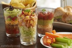 Recipe: 7-Layers of Greatness The great thing about 7 Layer Dips is that they can be anything you want!  Served in individual cups means you can prepare them ahead of time and create variety. Also consider an ingredient bar, and let your guest build their own dips as they choose!