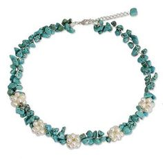 Novica Cultured pearl and serpentine beaded necklace, Glow