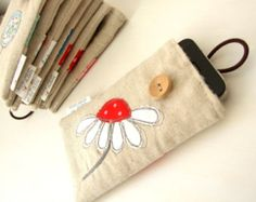 Bestickte Leinen Lollipop Blume Smartphone / Iphone /