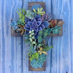 This listing is for a custom made CROSS planter. The dimensions are 12 x 9. Filled with a colorful variety of succulents that will brighten up any spot. Each planter is made to order and will be shipped within 1-2 weeks. Please contact me if needed sooner. **Plants will vary