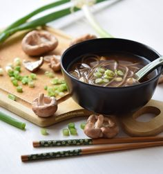 Miso soup with shiitake and soba noodles