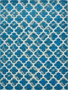 Turquoise 9' x 12' Transitional Indoor/Outdoor Rug | Area Rugs | eSaleRugs