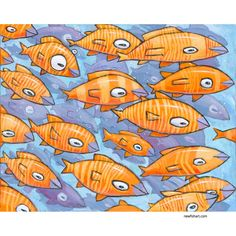 """Giclée Print on Canvas: """"A School of Orange and Yellow Fish"""" Limited edition of 99 Giclée prints on canvas. by F. Frank. 80 x 100 cm / 31.5 x 39.6 inches. Every Giclée-Print is handsigned, numbered and dated on the front & back. Certificate of Authenticity. Fish Artwork, Painting Prints, Canvas Prints, Yellow Fish, My Art Studio, All Pictures, 6 Inches, Authenticity, Certificate"""