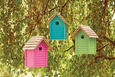 We love the combination of Pink Jasmine Summer Sky and Lime Zest for these DIY garden birdhouses.