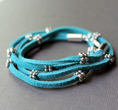 Leather Suede Wrap Bracelet Turquoise with Silver Beads