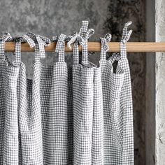 Linen CURTAIN panel) in Small Checks / Washed linen curtains / linen drapes in small checks / drape for relaxed look - For the Home - Curtains 1 Panel, Check Curtains, Drop Cloth Curtains, Velvet Curtains, Linen Curtains, Hanging Curtains, Blackout Curtains, Linen Fabric, Floral Curtains