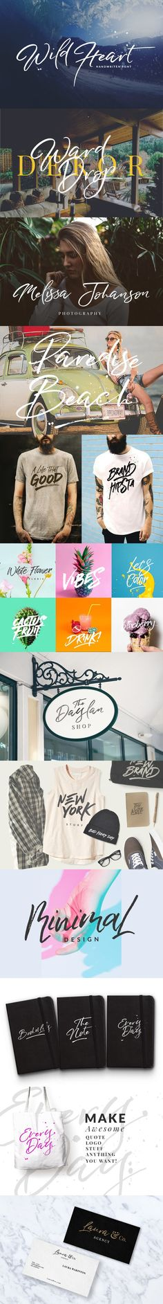 Wild Heart - Brush Font Set 40% OFF. Script Fonts. $15.00