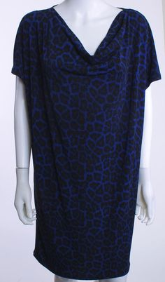 MICHAEL KORS COWL NECK DOLMAN SLEEVE BLUE & BLACK LEOPARD KNIT TUNIC  DRESS SZ M #MichaelMichaelKors #Tunic #WeartoWork