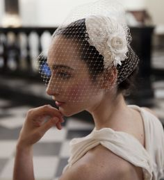 Ivory Wedding Headpiece with detachable birdcage veil by AgnesHart