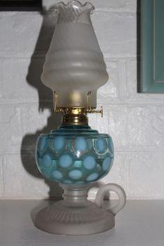 RARE c.1880u0027S ANTIQUE VENETIAN BLUE OPALESCENT COIN DOT KEROSENE OIL FINGER LAMP & 6669 best Antique kerosene lamps images on Pinterest | Oil lamps ...