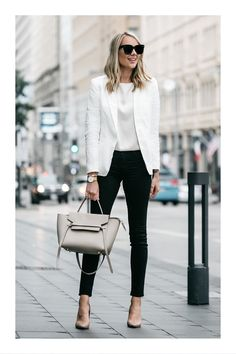 Blonde Woman Wearing Stitch Fix Outfit Joie White Blazer J Brand Black Skinny Je… Blonde Woman Outfit Joie White Blazer J Brand Black Skinny Jeans Nude Pumps Celine Belt Handbag Fashion Jackson Classy Work Outfits, Work Casual, Stylish Outfits, Office Wear Women Work Outfits, Classy Clothes, Classy Casual, Classy Chic, Elegant Chic, White Outfits For Women