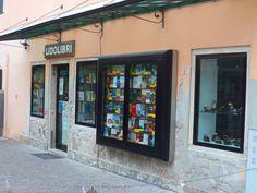 Bookstore on the island of Lido, Venice, Italy. (libri=books) July 2013